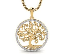 Diamond Tree of Life Large Pendant . Solid 925 Sterling Genuine 0.09 pt