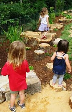 HOW TO BUILD A NATURAL PLAYSCAPE STEP 5: MAKE A PATH  Children love to follow a path. Use stepping stones, or bricks, or large rocks or slabs cut from a tree trunk to weave even a short trail through your grasses or along your hill