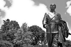 """John A. Hannah Statue:  """"The University is an integral part of a social system that has given more opportunity, more freedom, more hope to more people than any other system yet devised."""" ~John A. Hannah, State of the University Address, February 12, 1968"""