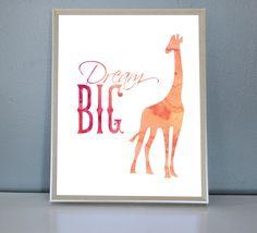 Dream Big Giraffe - Wall/Art Print by PrettyPaperPlaceShop on Etsy Dream Big, Wall Art Prints, Giraffe, Unique Jewelry, Handmade Gifts, Shop, Kids, Etsy, Vintage