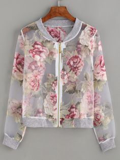 Floral Print Sheer Mesh Jacket Mobile Site