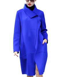 MEXI Women's Double-sided Handmade Long Woolen Casual Coat Outerwear Plus Size at Amazon Women's Clothing store: