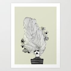 FREE SHIPPING THIS WEEK! Hair Overload Art Print by Bouffants and Broken Hearts - $25.00