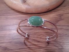 Green Aventurine mounted on a Silver Plated Pewter Adjustable Bracelet