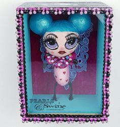 """""""Boo"""" Pop Surreal Doll Sculpture in Framed Box Art Metallic Blue Paint, Sculpture Art, Sculptures, Black Gems, Box Art, Surrealism, Jewelry Art, Hand Painted, Dolls"""