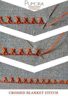 Pumora's embroidery stitch-lexicon: the crossed blanket stitch                                                                                                                                                                                 More