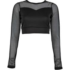 Boohoo Amelie Fishnet Panel Scuba Long Sleeve Crop (€6,23) ❤ liked on Polyvore featuring tops, see through tops, sheer long sleeve top, evening tops, long sleeve crop top and white top