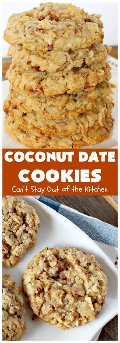 Coconut Date Cookies are filled with oatmeal, pecans, coconut & dates for an explosion of flavor. These cookies are rich, chewy and so delicious. Date Cookies, No Bake Cookies, Yummy Cookies, Cookies Et Biscuits, Christmas Cookies, Christmas Ideas, Köstliche Desserts, Delicious Desserts, Dessert Recipes