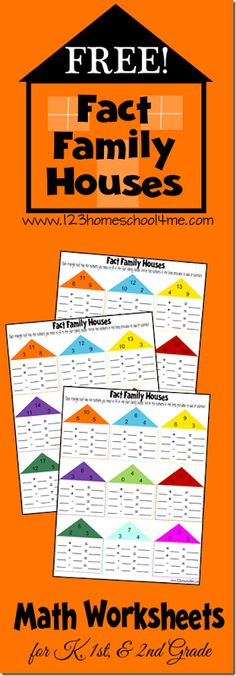 Grab these FREE Math Fact Family Worksheets from 123 Homeschool 4 Me. Help kids practice addition and subtraction with these free printable Fact Family Math Worksheets for Kids. There are 6 pages filled with various number groupings. Fact Family Worksheet, Kids Math Worksheets, Subtraction Worksheets, Fact Families, Second Grade Math, Grade 3, Math Addition, E Mc2, Homeschool Math