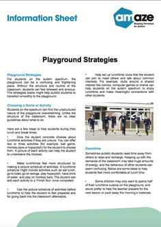 For students on the autism spectrum, the playground can be a confusing and frightening place. Without the structure and routine of the classroom, students can feel stressed and anxious. The strategies by Amaze might help autistic students to transition smoothly to the playground. List Of Resources, Feeling Stressed, Autism Spectrum, Research Paper, Anxious, Playground, Routine, Students, Classroom