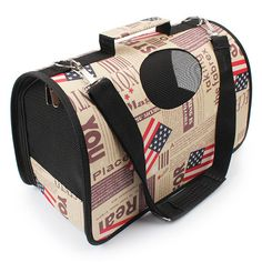 2017 New American Flag Pet Breathable Travel Bag Dog Cat Pet Foldable Carrier Dog Portable Bag Cage Free Shipping PA35