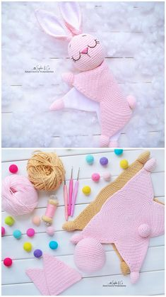 Easy Crochet Patterns, Amigurumi, Baby lovey toys by AVokhminaPatterns Crochet Lovey, Crochet Baby Toys, Crochet Bunny, Crochet Animals, Baby Blanket Crochet, Crochet For Kids, Diy Crochet, Crochet Dolls, Baby Knitting