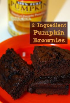 Low Fat 2 Ingredient Pumpkin Brownies -moist and gooey with half the calories!