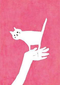 White cat on pink, illustration by d'Yoshinori Mozneko - Top-Trends Gato Anime, Sketchbook Inspiration, Cat Drawing, Cute Illustration, Crazy Cats, Cat Art, Illustrators, Cat Lovers, Decoupage