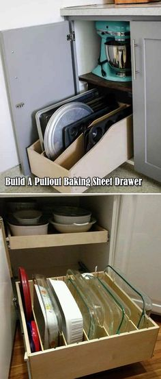 Build a pullout baking sheet drawer that help you easily access your baking supplies. kitchen 17 Practical Tips to Easily Organize Your Baking Supplies Apartment Kitchen Storage Ideas, Kitchen Hacks, Kitchen Organization, Diy Kitchen, Kitchen Design, Storage Organization, Kitchen Ideas, Kitchen Storage Hacks, Kitchen Cleaning