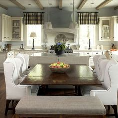 Kitchen seating - wing chairs, bench, banquette - My French Country Home, French Living - Sharon Santoni