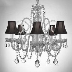 Gallery 5-Light Crystal Chandelier ; Item #: 549307 |  Model #: 385/5/SC/BLACK ; $218.00