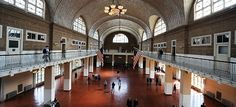 Ellis Island's Great Hall once had lines of immigrants speaking several different languages as they awaited processing.