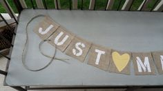 JUST MARRIED Photo Prop with FABRIC Heart by 2PerfectionDecor, $25.00