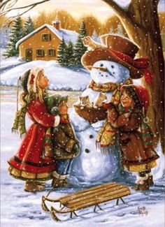 Children, snowman, sled and kittens -- Ginette Paquette, Canadian Christmas Scenes, Old Fashioned Christmas, Christmas Past, Christmas Cross, Christmas Pictures, Christmas Snowman, Christmas Greetings, Winter Christmas, Illustration Noel