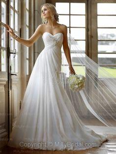 A-line Sweetheart Chiffon Sweep Train White Beading Wedding Dresses