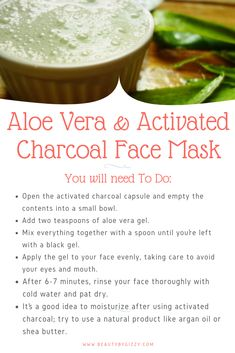 "Aleo Vera and Activated Charcoal Face Mask. Click the image to check ""5 Aloe Vera Face Masks For Glowing Skin"". #CharcoalFaceMask #AloeVeraSkinCare"