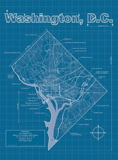 Washington DC Artistic Blueprint Map Education Art Print - 46 x 61 cm Washington Dc Map, Unique Maps, Remote Sensing, Old World Maps, Wall Maps, Modern Graphic Design, Urban Design, Map Design, Places