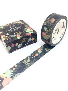 Black Floral Washi Tape Summer Flowers