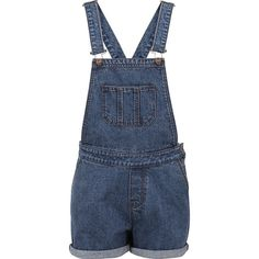 Ladies Short Bib Overall ($46) ❤ liked on Polyvore featuring jumpsuits, rompers, blue rompers and short overalls