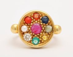 Nine Planet Gem Set Gold Ring   From a unique collection of vintage cocktail rings at https://www.1stdibs.com/jewelry/rings/cocktail-rings/