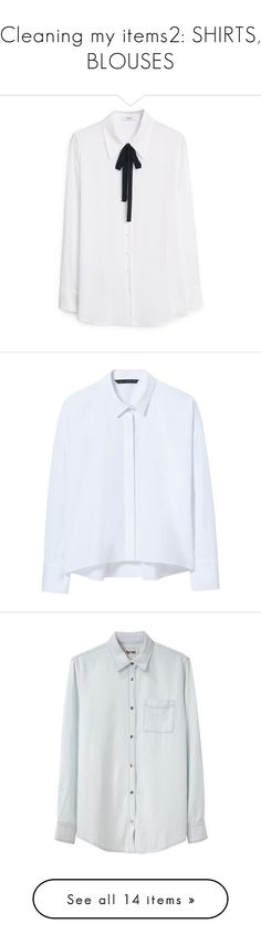 """Cleaning my items2: SHIRTS, BLOUSES"" by emilypondng ❤ liked on Polyvore featuring tops, blouses, shirts, long sleeves, long sleeve tie neck blouse, tie neck blouse, collared shirt, white long sleeve blouse, white tie neck blouse and camisas"