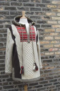 Womens, sweater, Christmas gift, hand made, felted wool, fair isle, cream, fairy coat, chocolate brown, coral, sage green, Clothing, repurposed, recycled, reconstructed, winter, ski, wool, lambswool, Hannukah, Anthropologie, tassels, hood, bohemian, hippie, fisherman's knit, boiled wool, luxury, one of a kind, eco-friendly Beautifully hand made from felted knits, this sweater is a very special, one-of-a-kind piece. Slightly loose-fitting, it is constructed from five recycled sweaters tha...