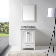 Create a classy appeal to any bathroom by adding this Virtu USA Caroline Avenue Single Vanity with White Marble Vanity Top. 24 Inch Bathroom Vanity, 24 Vanity, Small Vanity, Small Bathroom Vanities, Vanity Set With Mirror, Vanity Cabinet, Bath Vanities, White Bathroom, Single Vanities