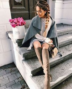 #winter #outfits Grey Cape // Cream Knit // Grey Skirt // Brown Suede Knee High Boots