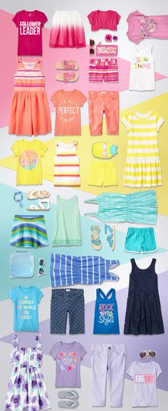 Girls' fashion | Girls' style | Kids' clothes | Graphic tee | Skirt | Dress | Flip flops | Tank top | Shorts | Skort | Sandals | Wedges | Jeggings | Romper | Activewear | Jewelry | Sunglasses | Purses | Cardigan | Capris | Lunch box | The Children's Place