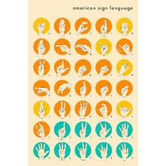 Jazzberry Blue Sign Language Hand Alphabet A2 Framed Print: Sign Language Hand Alphabet print. A quick lession in spelling your name to the deaf from Jazzberry Blue.