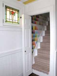 kinda love this colorful staircase for the attic stairs.........Cozy Little Cave: Psychedelic Stair Renovation!
