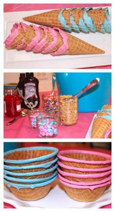 Gender Reveal Party pink and blue ice cream sundae bar
