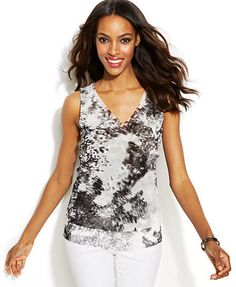 INC International Concepts Petite Forest Nights Double-Layer Tank Top