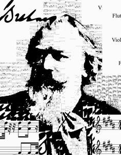 Brahms. Sheet music from Symphony No. 4 in E minor - Great artists self-portraits - Sergio Albiac