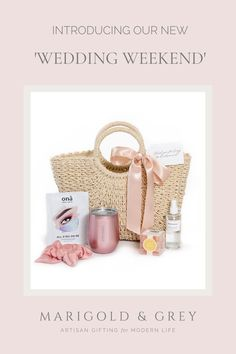 The ultimate in wedding weekend bridesmaids gifts, our signature 'Wedding Weekend' not only offers a perfectly neutral woven tote for use immediately but also for the months and years post-wedding. The perfect reminder of your celebration!