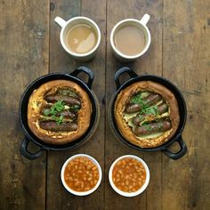 """""""Tuesday: Toad in the Hole with venison sausage, baked beans! and Ever So English Breakfast Tea. I had a lot of reservations about making…"""" Yorkshire Pudding Breakfast, How To Make Yorkshire Pudding, English Breakfast Tea, Breakfast Pizza, Morning Breakfast, Meat Recipes, Cooking Recipes, Food Menu Design, Home Food"""