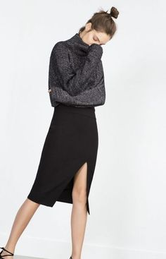 Slit pencil skirt and turtle neck combo, prefer a loose turtle neck