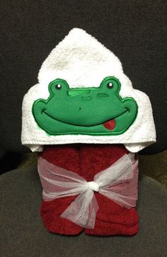 Frog hooded bath towel by NitasNeedle on Etsy