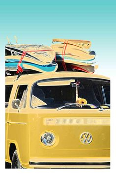 "Acrylic Mounted Photo Print Colour Retro Vintage VW van with surfboards 8x12"". $150.00, via Etsy."