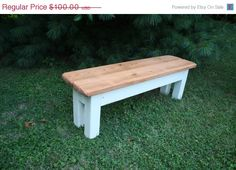"""10% OFF SALE Unique Primtiques Primitive Colonial Maple Stained & Antique Country White FARMHOUSE Bench 14-1/2""""x55""""x18""""h Custom Sizes Color on Etsy, $90.00"""