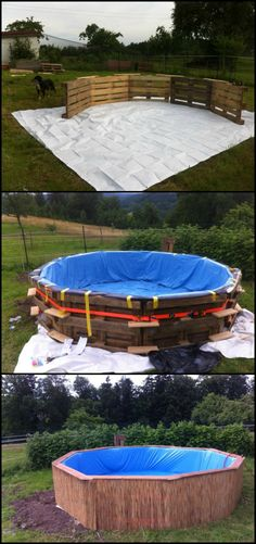 We've featured swimming pools made from shipping containers, dumpsters, hay bales and rubbish skips before as a low-cost way of creating family pools, but here's a cheaper project!  http://diyprojects.ideas2live4.com/2016/03/24/swimming-pool-from-recycled-pallets/  A pallet swimming pool is not only less expensive, it's also faster to build. You can finish it in just one day!  Do you know anyone who could use a pallet swimming pool in their yard this summer? :)