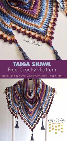 Taiga Shawl Free Crochet Pattern #freecrochetpatterns #crochetshawl