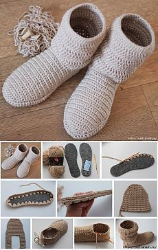 This Lacy Cotton Crochet Boots Pattern W Lovecrochet - Diy Crafts - DIY & Crafts Crochet Boots Pattern, Crochet Slipper Boots, Shoe Pattern, Knitted Slippers, Crochet Shoes, Crochet Baby Booties, Diy Crochet, Crochet Clothes, Crochet Fashion