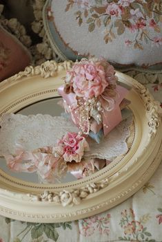 shabby chic ~ I need to paint the frame on the gold mirrors before I decorate them.